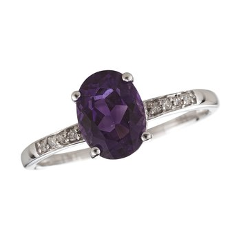 14kw Amethyst / Diamond Ring