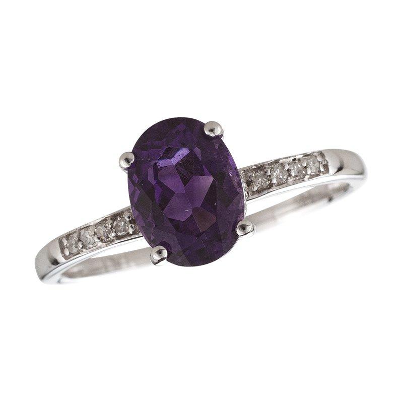 Birthstone Collection 14kw Amethyst / Diamond Ring