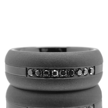 Men's 8mm Black Tungsten 1/5ctw Black Diamond Wedding Band