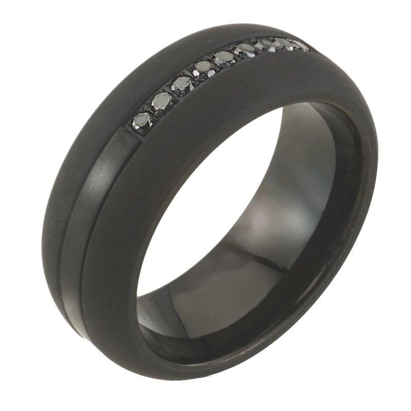 Saslow's & Henebry's Collection 8mm Black Tungsten 1/5ctw Black Diamond Band
