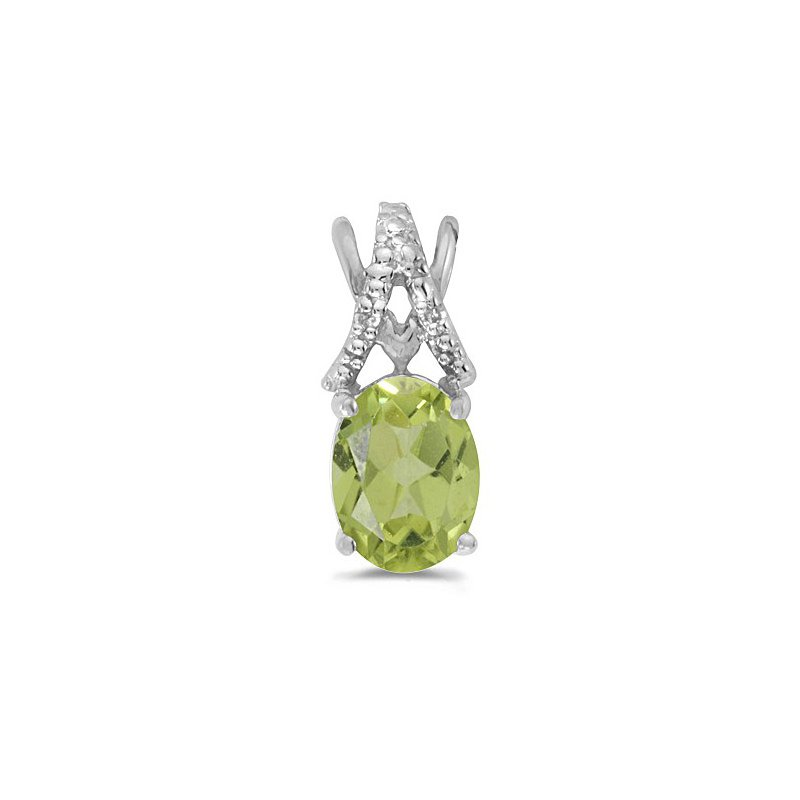 Birthstone Collection 10K White Gold Oval Peridot And Diamond Pendant