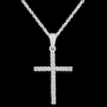 White Gold 1/4ctw Diamond Cross Pendant