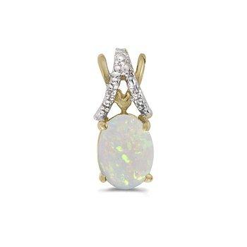 10K Yellow Gold Oval Opal And Diamond Pendant