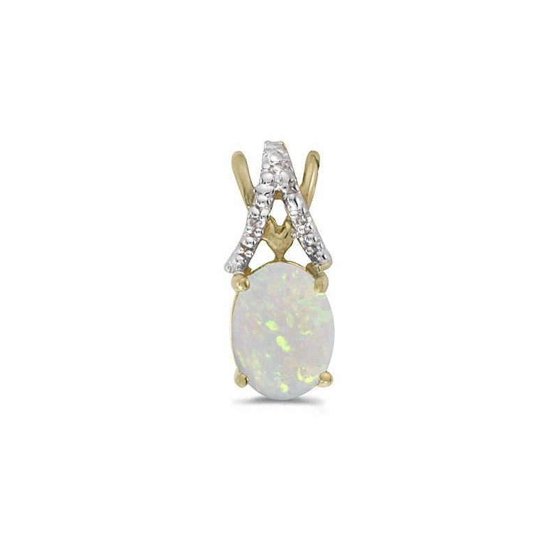 Birthstone Collection 10K Yellow Gold Oval Opal And Diamond Pendant