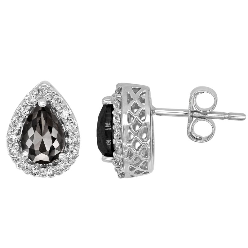 Saslow's & Henebry's Collection 1.5ctw Black Diamond Pear Earrings