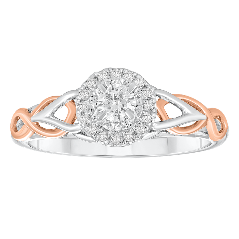 Saslow's & Henebry's Collection White & Rose Gold 1/4ctw Halo Ring