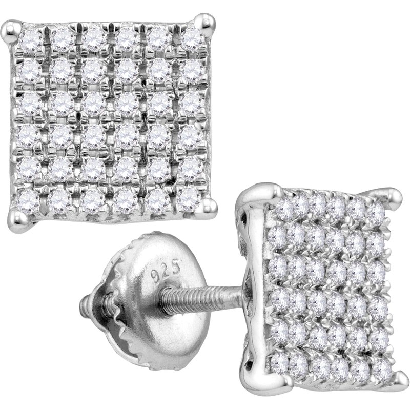 Saslow's & Henebry's Collection 1/4 ctw Square Cluster Diamond Earrings