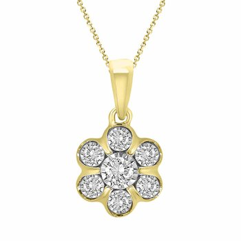 .15ct Flower Cluster Necklace