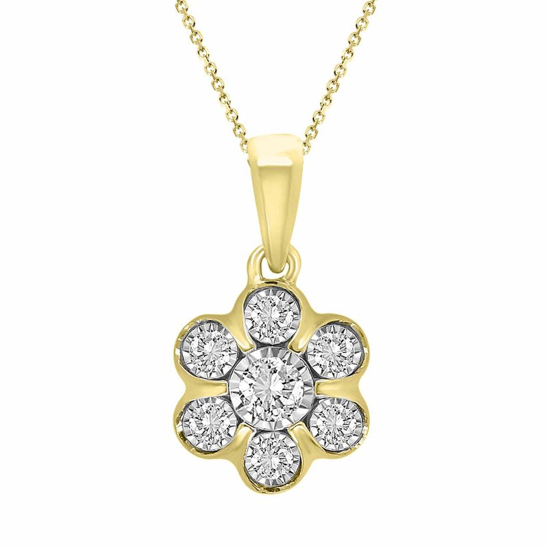 Saslow's & Henebry's Collection .15ct Flower Cluster Necklace