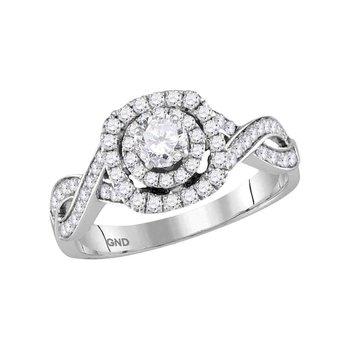 14kt White Gold Womens Round Diamond Bridal Wedding Engagement Ring 7/8 Cttw