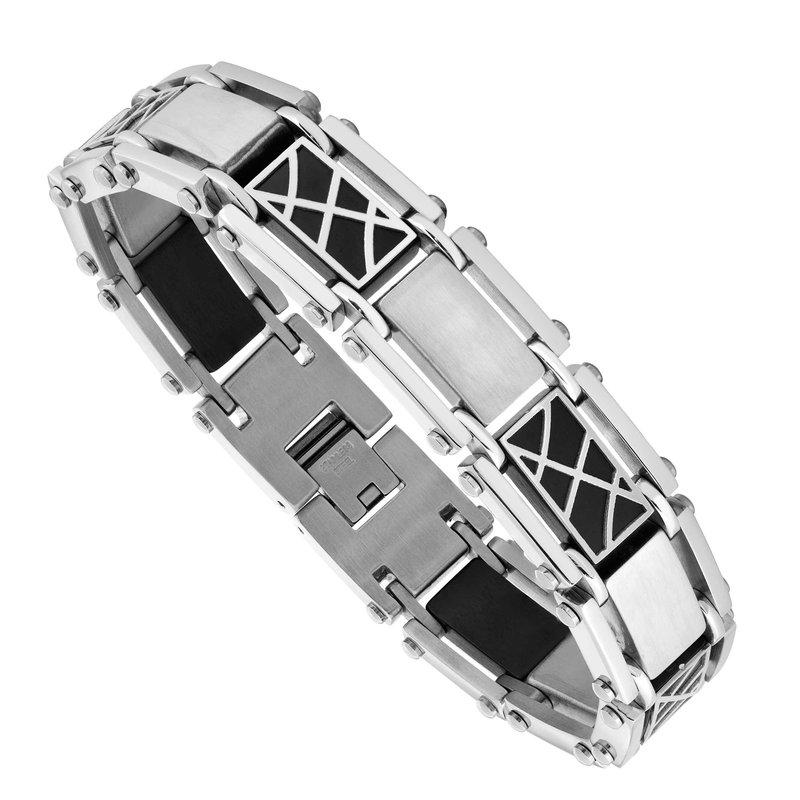"Saslow's & Henebry's Collection Steel-Black Ion Plating Men's Bracelet 8.5"""