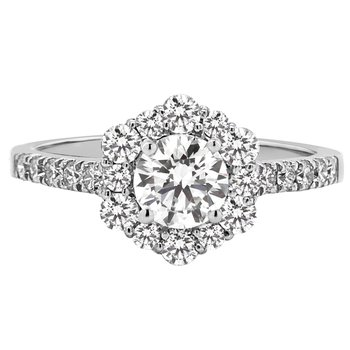 Certified 1ctw Diamond Halo Engagement Ring