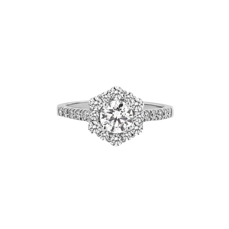 Lab Grown Diamonds Certified 1ctw Lab Grown Diamond Halo Engagement Ring