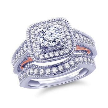1 1/3 Cttw Two Tone Rose And White Gold Bridal Ring With Band