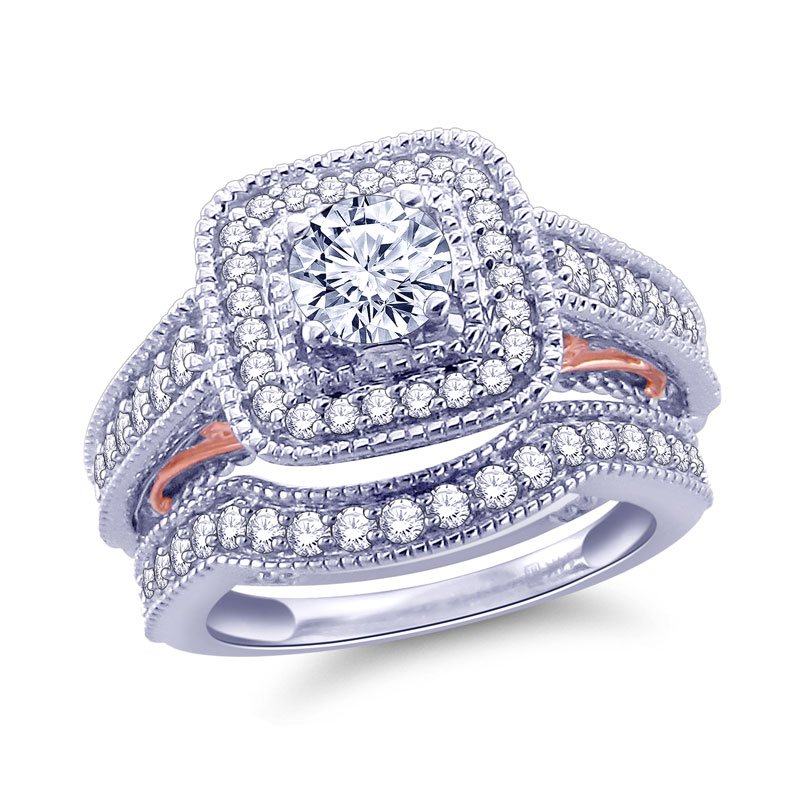 Royal Colorless 1 1/3 Cttw Two Tone Rose And White Gold Bridal Ring With Band