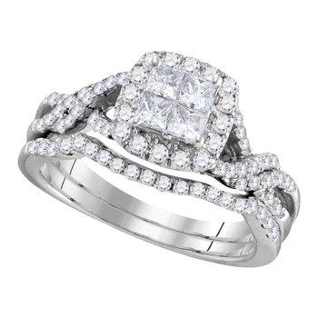 10kt White Gold Womens Princess Diamond Twist Bridal Wedding Engagement Ring Band Set 1.00 Cttw