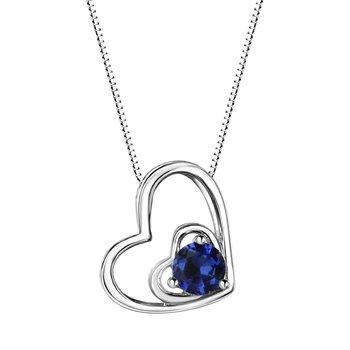 Sapphire Double Heart Sterling Silver Pendant