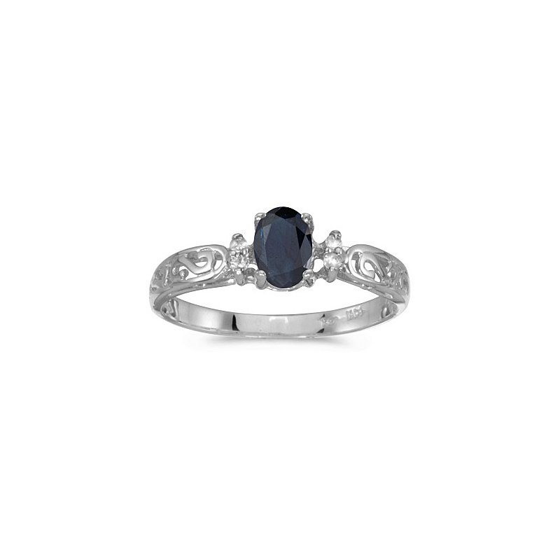 Birthstone Collection 10K White Gold Oval Sapphire And Diamond Ring