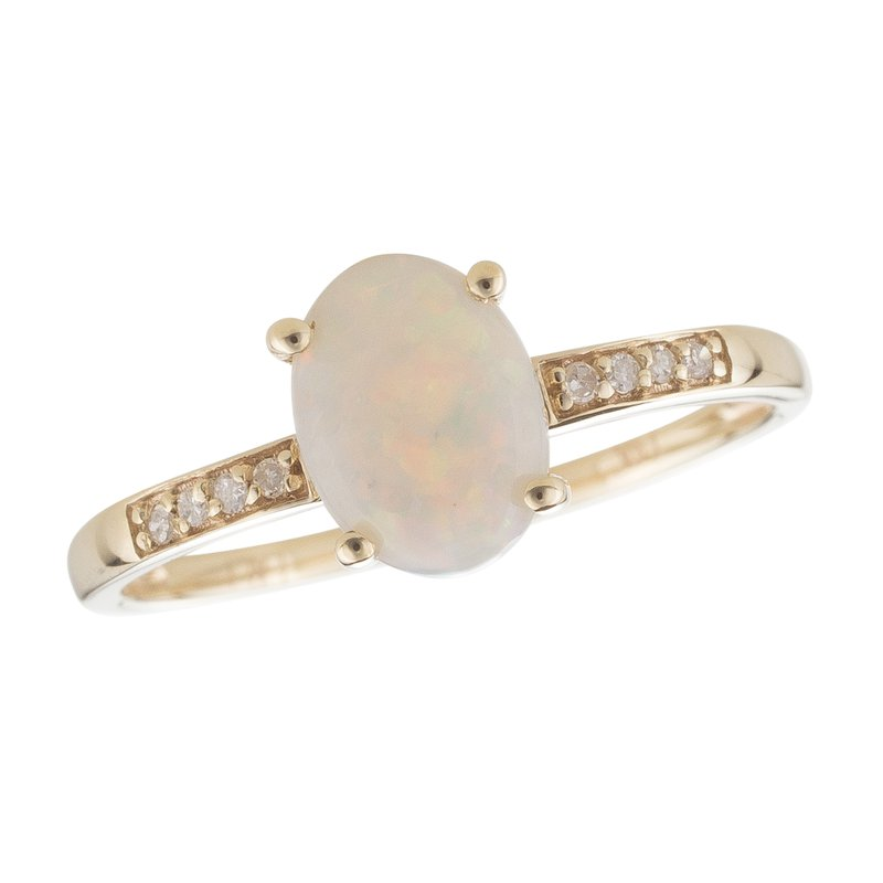 Birthstone Collection 14ky Opal / Diamond Yellow Gold Ring