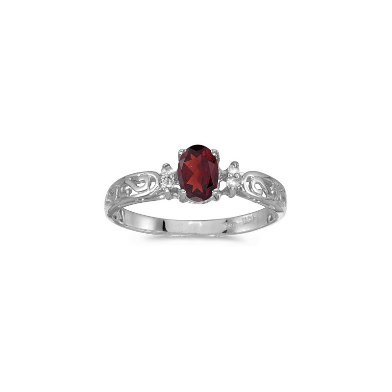 Birthstone Collection 10K White Gold Oval Garnet And Diamond Ring