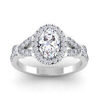 Certified 1 5/8ctw Oval Halo Engagement Ring