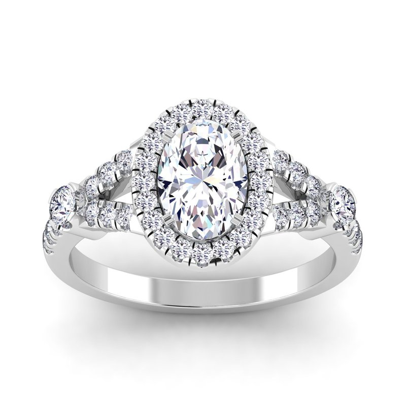 Lab Grown Diamonds Certified 1 5/8ctw Oval Halo Engagement Ring