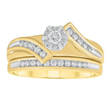 Yellow Gold 1/3ctw Bridal Set