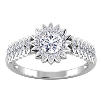 Certified 7/8ctw Halo Diamond Engagement Ring