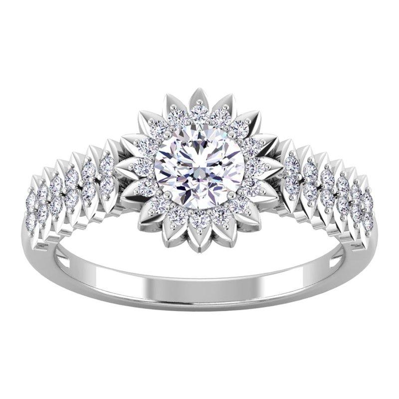 Lab Grown Diamonds Certified 7/8ctw Halo Diamond Engagement Ring