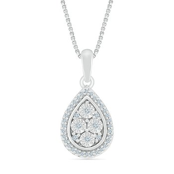 1/10 ctw Pear Shaped Diamond Necklace