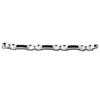 Steel-Black Ion Plating Wire Cross Men's Bracelet 8.5""