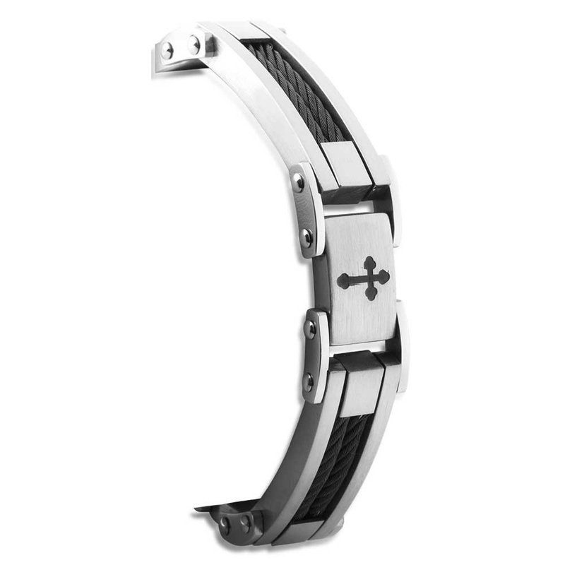 """Saslow's & Henebry's Collection Steel-Black Ion Plating Wire Cross Men's Bracelet 8.5"""""""