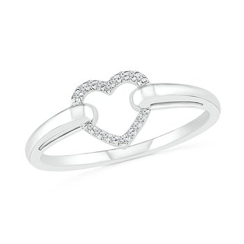 .05ctw Diamond Open Heart Ring