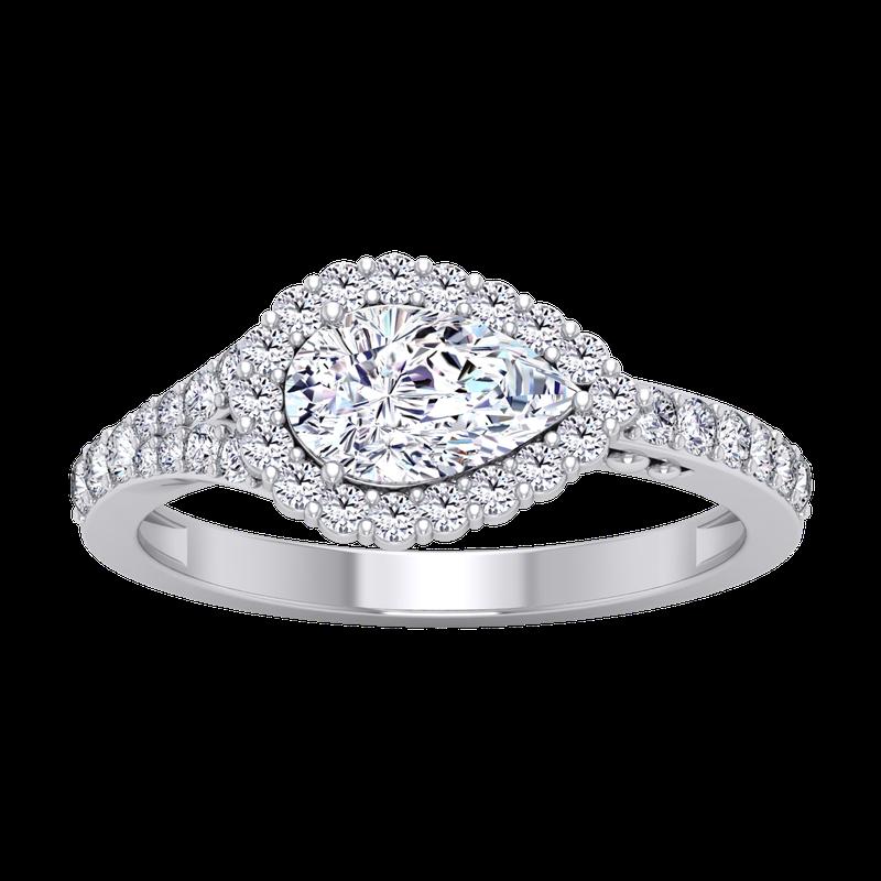 Lab Grown Diamonds Certified 1 3/8ctw Pear Halo Diamond Engagement Ring