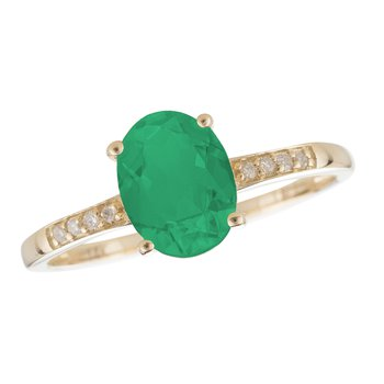 14ky Emerald / Diamond Yellow Gold Ring
