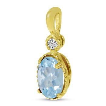 10K Yellow Gold Oval Aquamarine Millgrain Birthstone Pendant