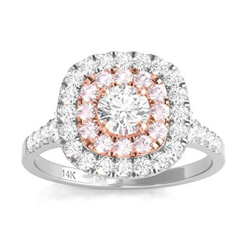 Certified 1ctw Double Halo W/Pink Diamonds Engagement Ring