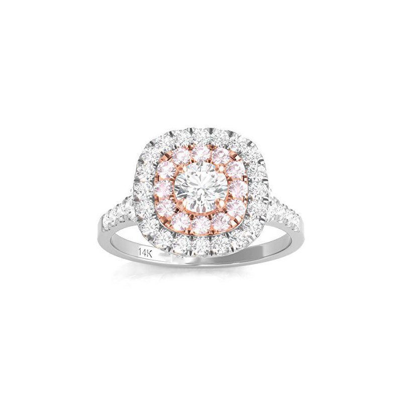 Promise Forever Certified 1ctw Double Halo W/Pink Diamonds Engagement Ring