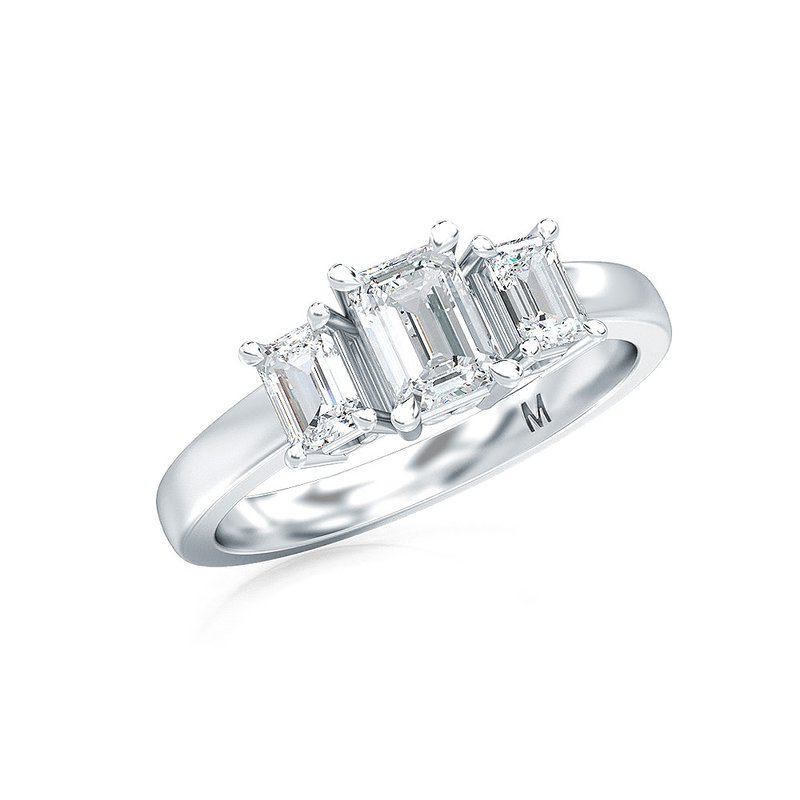 Lab Grown Diamonds 1 ctw-Stone Emerald Cut Diamond Ring