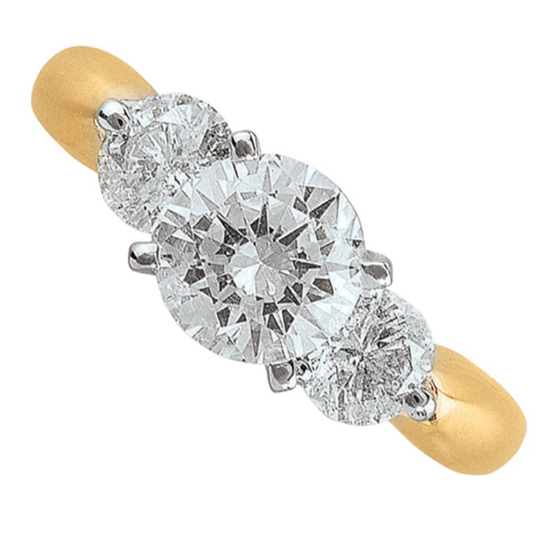 Promise Forever 3ctw Past, Present, Future 3 Diamond Ring. 14K Yellow Gold