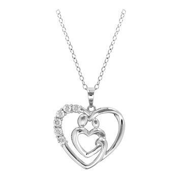 Mother and Family Diamond Heart Necklace