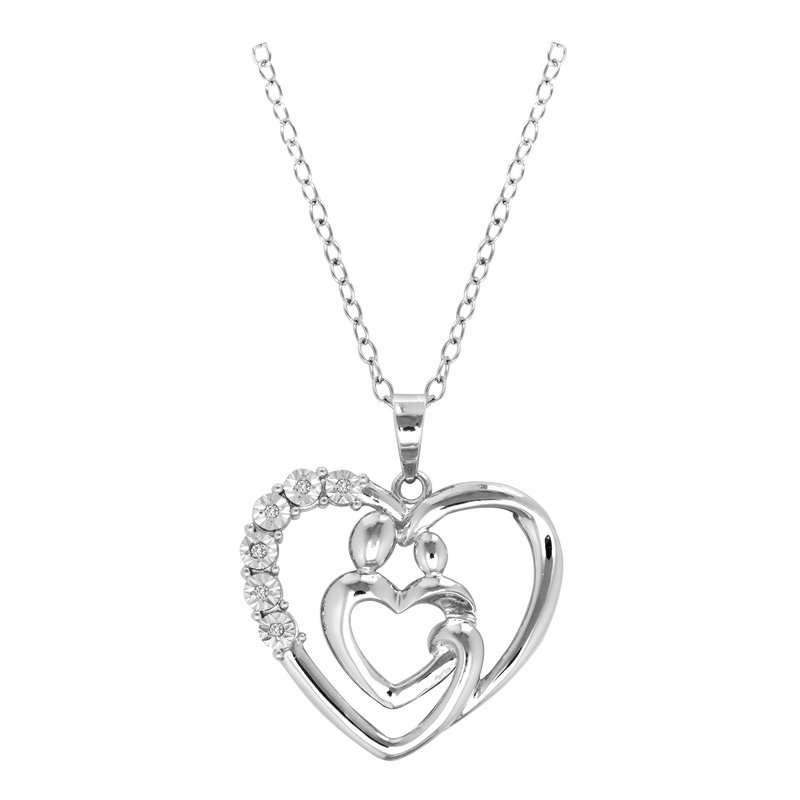 Gifts That Rock Mother and Family Diamond Heart Necklace