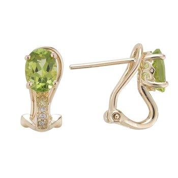 14ky Peridot/Diamond Earrings