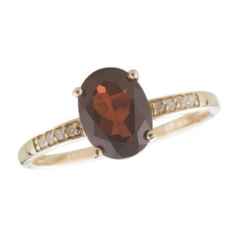 14ky Garnet / Diamond Yellow Gold Ring