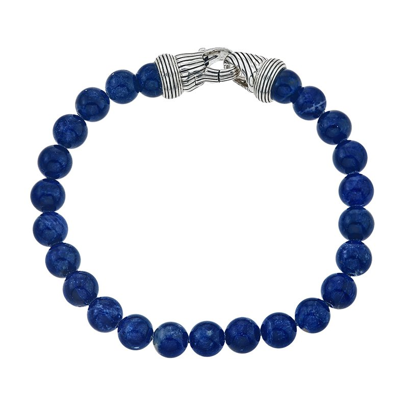 Esquire Men's Jewelry Round Sodalite and Silver Beaded Bracelet