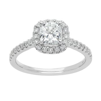 1ctw Halo Engagement Ring with 3/4 Cushion Cut Center