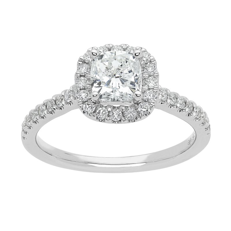 Saslow's & Henebry's Collection 1ctw Halo Engagement Ring with 3/4 Cushion Cut Center