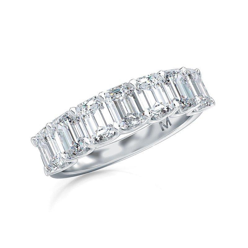 Lab Grown Diamonds Vertical Set Emerald 7 Stone Diamond Band