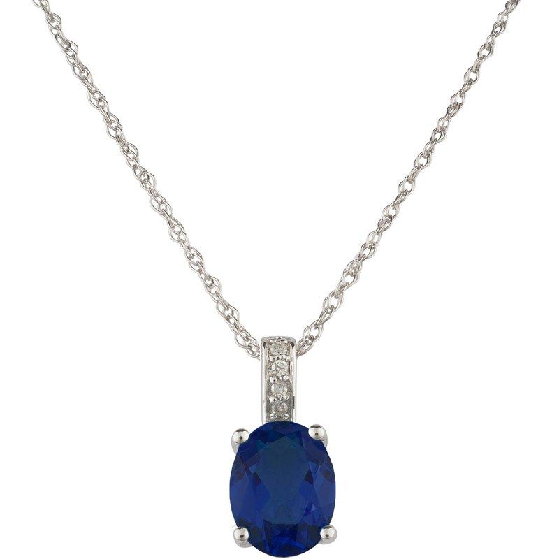 Birthstone Collection 14kw Sapphire / Diamond Pendant