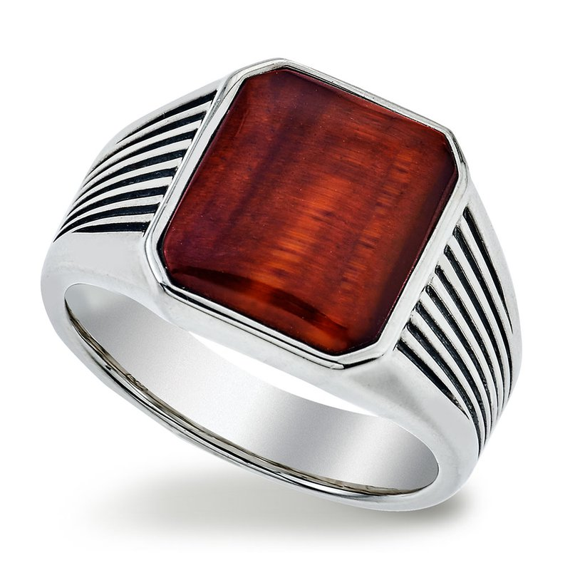 Esquire Men's Jewelry Red Tiger Eye and Silver Ring